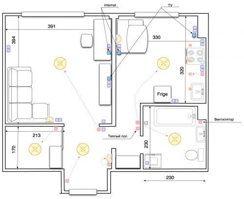 Шторы в дверном проеСхема разводка электропроводки в